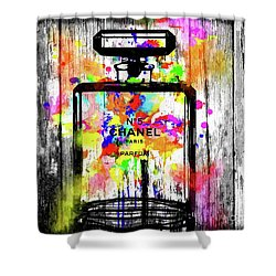 Chanel No. 5  Wooden Shower Curtain