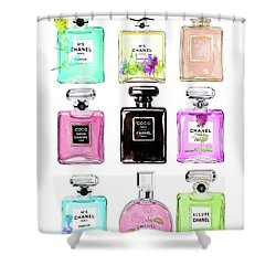 Chanel Perfume Set 9er Shower Curtain