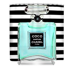 Chanel Perfume Turquoise Poster Print Shower Curtain