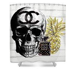 Chanel Skull With Perfume And Pineapple Shower Curtain