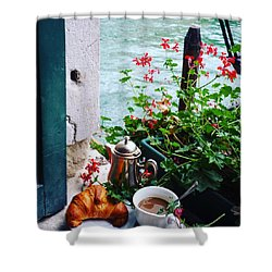 Chanel View Breakfast In Venezia Shower Curtain by Tamara Sushko