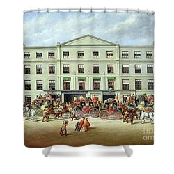 Changing Horses Outside The Plough Inn Shower Curtain by JC Maggs
