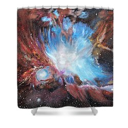 Shower Curtain featuring the painting Chaos In Orion by Ken Ahlering