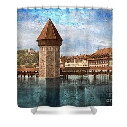 Chapel Bridge In Lucerne Shower Curtain