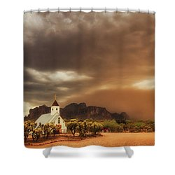 Shower Curtain featuring the photograph Chapel In The Storm by Rick Furmanek