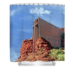Shower Curtain featuring the digital art Chapel Of The Holy Cross by Kai Saarto