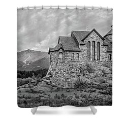 Chapel On The Rock - Black And White Shower Curtain