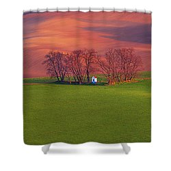 Shower Curtain featuring the photograph Chapel St Barbara. Moravian Tuscany by Jenny Rainbow