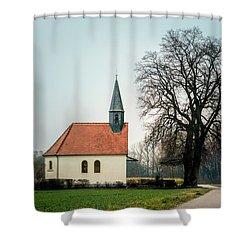 Chapel Under The Tree Shower Curtain by Daniel Precht