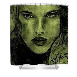 Shower Curtain featuring the drawing char-Carol by P J Lewis