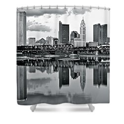Charcoal Columbus Mirror Image Shower Curtain by Frozen in Time Fine Art Photography