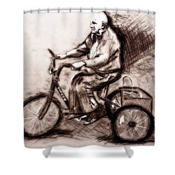 Shower Curtain featuring the drawing Charcoal Drawing Of Pedal To The Metal By Ayasha Loya by Ayasha Loya