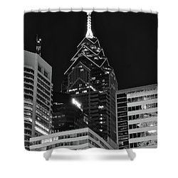 Shower Curtain featuring the photograph Charcoal Night Philly Lights by Frozen in Time Fine Art Photography