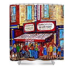 Charcuterie Hebraique Schwartz Line Up Waiting For Smoked Meat Montreal Paintings Carole Spandau     Shower Curtain