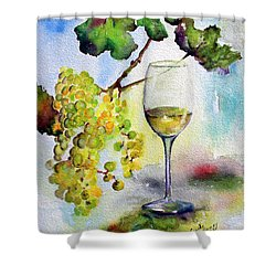 Chardonnay Wine Glass And Grapes Shower Curtain by Ginette Callaway