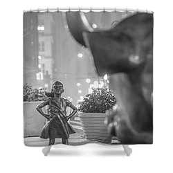 Charging Bull And Fearless Girl Nyc  Shower Curtain