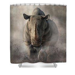 Charging Rhino Shower Curtain