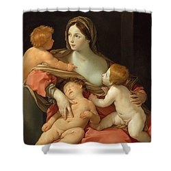 Shower Curtain featuring the painting Charity by Guido Reni