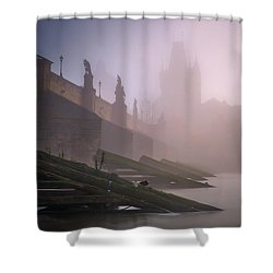 Charles Bridge At Autumn Foggy Day, Prague, Czech Republic Shower Curtain