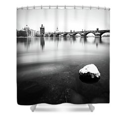 Charles Bridge During Winter Time With Frozen River, Prague, Czech Republic Shower Curtain