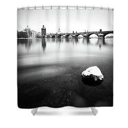 Charles Bridge During Winter Time With Frozen River, Prague, Czech Republic Shower Curtain