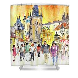 Charles Bridge In Prague In The Czech Republic Shower Curtain by Miki De Goodaboom