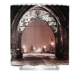 Shower Curtain featuring the photograph Charles Bridge In Winter. Prague by Jenny Rainbow