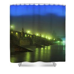 Charles Bridge Night In Prague, Czech Republic Shower Curtain