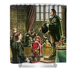 Charles I In The House Of Commons Shower Curtain by English School