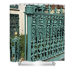 Shower Curtain featuring the photograph Charleston Aqua Turquoise Rod Iron Gate John Rutledge House - Charleston Historical Architecture by Kathy Fornal