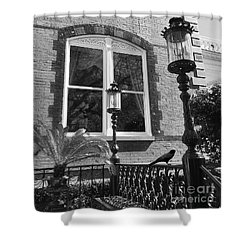 Shower Curtain featuring the photograph Charleston French Quarter Architecture - Window Street Lanterns Gothic French Black White Art Deco  by Kathy Fornal
