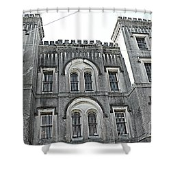 Shower Curtain featuring the photograph Charleston Historical Haunted Old Jail House - Charleston Old Jail Civil War Architecture  by Kathy Fornal