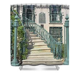 Shower Curtain featuring the photograph Charleston Historical John Rutledge House - Aqua Teal Gate Staircase Architecture - Charleston Homes by Kathy Fornal