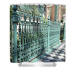 Shower Curtain featuring the photograph Charleston Historical John Rutledge House Fleur Des Lis Aqua Teal Gate Fence Architecture  by Kathy Fornal