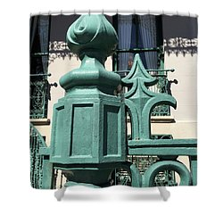 Shower Curtain featuring the photograph Charleston John Rutledge House Fleur De Lis Symbols - French Quarter Architecture Gate Posts by Kathy Fornal