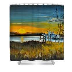 Shower Curtain featuring the painting Charleston Low Country by Lindsay Frost