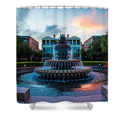 Charleston Pineapple Sunset Shower Curtain by Robert Loe
