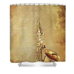 Charlie Parker Saxophone Brown Vintage Poster And Quote, Gift For Musicians Shower Curtain by Pablo Franchi