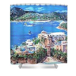Charlotte Amalie Marriott Frenchmans Beach Resort St. Thomas Us Virgin Island Aerial Shower Curtain by Bernadette Krupa