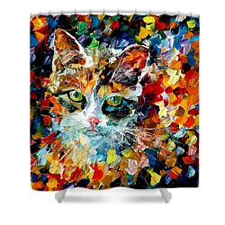 Charming Cat Shower Curtain by Leonid Afremov