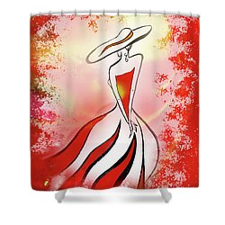 Charming Lady In Red Shower Curtain by Irina Sztukowski