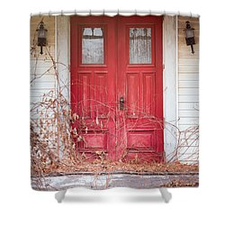 Shower Curtain featuring the photograph Charming Old Red Doors Portrait by Gary Heller