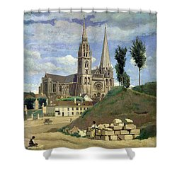 Chartres Cathedral Shower Curtain by Jean Baptiste Camille Corot