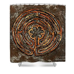 Chartres Style Labyrinth Earth Tones Shower Curtain