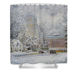 Chase Park Plaza In Winter, St.louis Shower Curtain