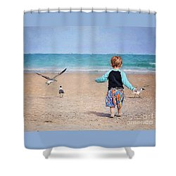 Chasing Birds On The Beach Shower Curtain