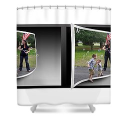 Shower Curtain featuring the photograph Chasing Bubbles - Gently Cross Your Eyes And Focus On The Middle Image by Brian Wallace