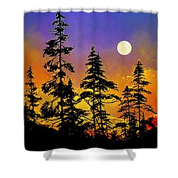 Shower Curtain featuring the painting Chasing The Moon by Hanne Lore Koehler