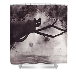 Shower Curtain featuring the painting Chat Dans L'arbre by Marc Philippe Joly