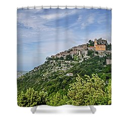 Chateau D'eze On The Road To Monaco Shower Curtain by Allen Sheffield